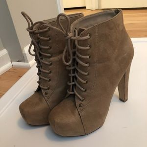 Shoes - Faux suede lace up booties
